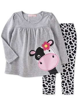 Ericdress Cartoon Appliques Spot Pleated Two-Piece Girls Outfits