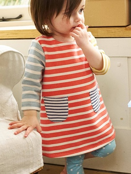 Ericdress Baby Strips Color Block Pocket Patchwork Girls Dress