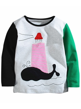 Ericdress Color Block Cartoon Appliques Boys Tops