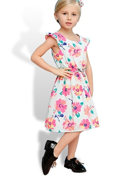ericdress Elastic Bow Appliques Floral Printed Girls Dresses