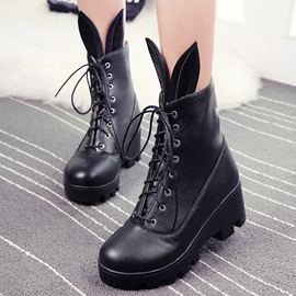 Ericdress Rabbit Ear Lace up Ankle Boots