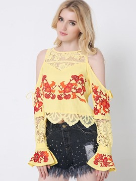Ericdress Lace Patchwork Embroidery Cold Shoulder Blouse
