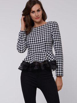Ericdress Plaid Pelplum T-Shirt