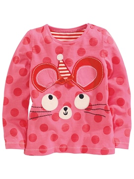 Ericdress Polka Dots Cartoon Appliques Tee Girls Tops