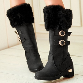 Ericdress Chic Furry Buckles Knee High Boots