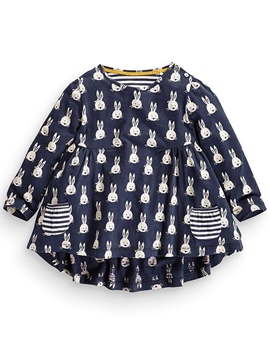 Ericdress Baby Elastic Animal Printed Pleated Patchwork Girls Dress