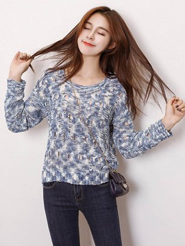 Ericdress Loose Casual Round Collar Hollow Knitwear