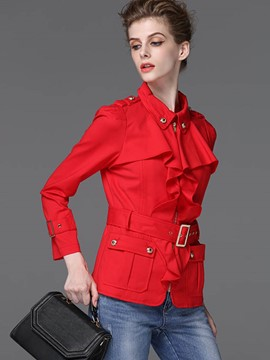 Ericdress Solid Color Belt Frill Trench Coat