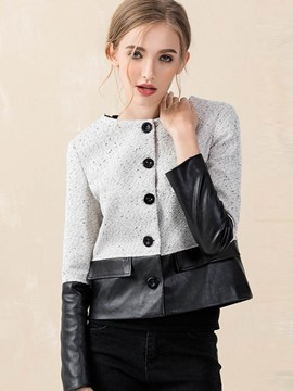 Ericdress Color Block Single-Breasted PU Patchwork Jacket