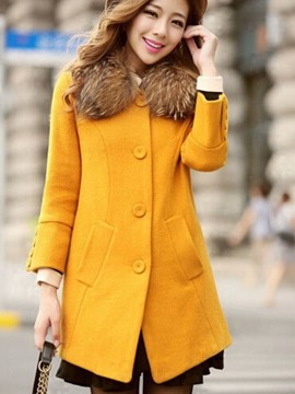 Ericdress Solid Color Slim Single-Breasted Coat