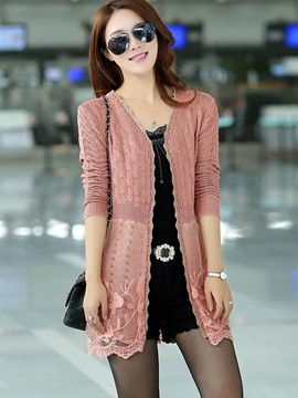 Ericdress V-Neck Lace Patchwork Knitwear