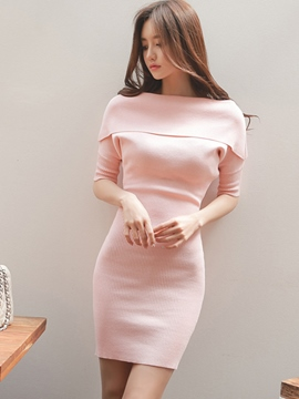 Ericdress Autumn Soild Color Knit Bodycon Sweater Dress
