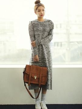 Ericdress Straight Round Neck Long Sleeve Sweater Dress