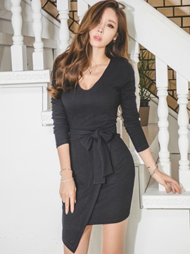 Ericdress Plain Lace-Up Asymmetric Bodycon Dress