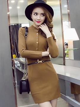 Ericdress Plain Single-Breasted Stand Collar Bodycon Dress