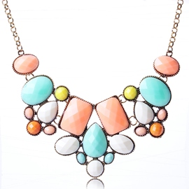 Ericdress Colored Geometric Resin Necklace