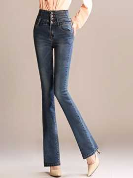 Ericdress Solid Color Flare Jeans