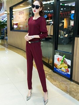 Ericdress Unique Chiffon Puff Sleeve Blouse Suit