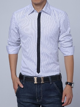 Ericdress Stripe Tie Print Vogue Men's Shirt