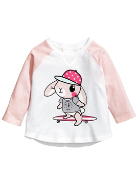 Ericdress Cartoon Printed Color Block Tee Girls Tops
