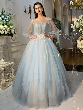Ericdress Scoop Ball Gown Long Sleeves Pearls Pleats Court Train Quinceanera Dress