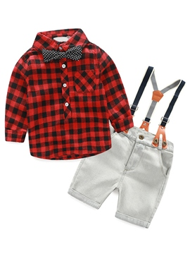 Ericdress Lattice Suspenders Bow Patchwork Boys Outfit
