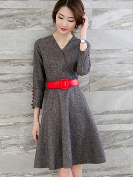 Ericdress Autumn Solid Color Long Sleeve V-Neck Casual Dress