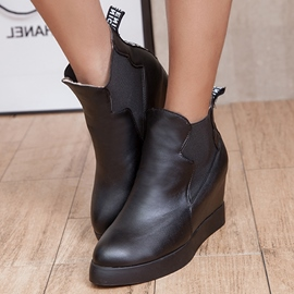 Ericdress Solid Color Round Toe Wedge Ankle Boots