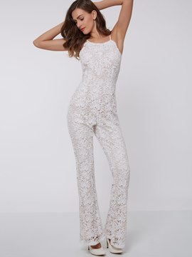 Ericdress Sweet Spaghetti Straps Lace Jumpsuits Pants