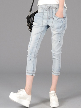 Ericdress Simple Ripped Harem Jeans