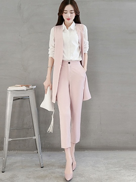 Ericdress Elegant Color Block Three-Piece Suit
