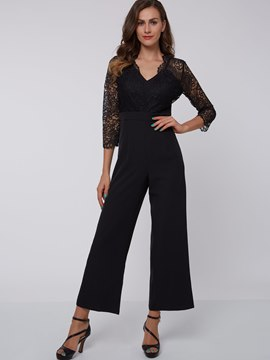 Ericdress Elegant See Through Lace Patchwork Jumpsuits Pants