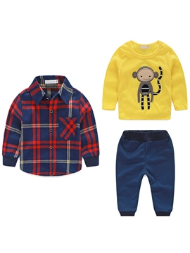 Ericdress Lattice Shirt&Cartoon Printed Tee Three-Piece Boys Outfits
