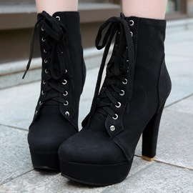 Ericdress PU Round Toe Platform Lace-Up High Heel Boots