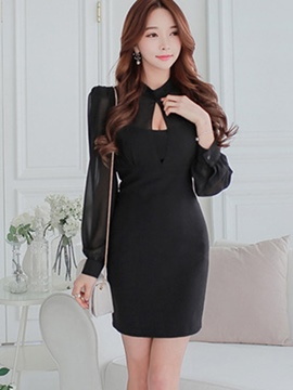 Ericdress Chiffon Sleeve Patchwork Bodycon Dress