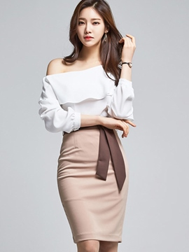 Ericdress Elegant Frill Oblique Shoulder Blouse Suit