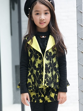 Ericdress Large Lapel Collar Floral Printed Pleated Two-Piece Girls Outfits