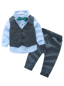 Ericdress Pure Vest Belt Patchwork Bow Appliques Three-Piece Boys Outfit