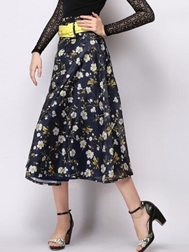 Ericdress Sweet Floral Print Skirt
