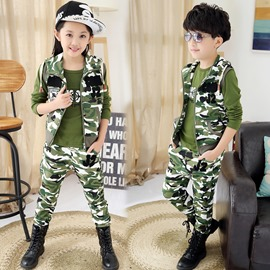 Ericdress Camo Vest Letter Printed Three-Piece Boys Outfits