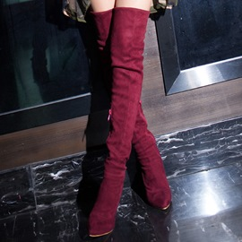 Ericdress PU Pointed Toe Plain Side Zipper Knee High Boots