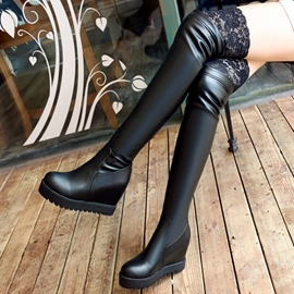 Ericdress Lace PU Patchwork Knee High Boots