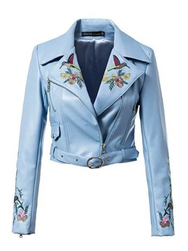 Ericdress Slim Asymmetric Embroidery Jacket