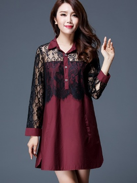 Ericdress Loose A-Line Lace Patchwork Plus Size Blouse