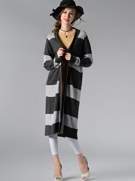 Ericdress Casual Stripped Long Cardigan Knitwear