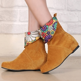 Ericdress Floral Round Toe Slip-On Ankle Boots
