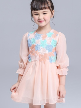 Ericdress Mixed-Print?Lace Hollow Floral Pleated Girls Dresses