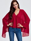 Ericdress V-Neck Pleated Batwing Blouse