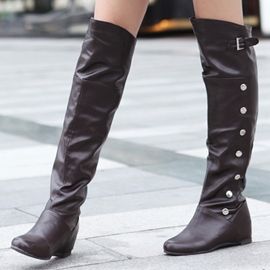 Ericdress PU Button Hasp Elevator Heel Knee-High Boots