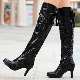 Ericdress Patent Leather High Heel Knee High Boots